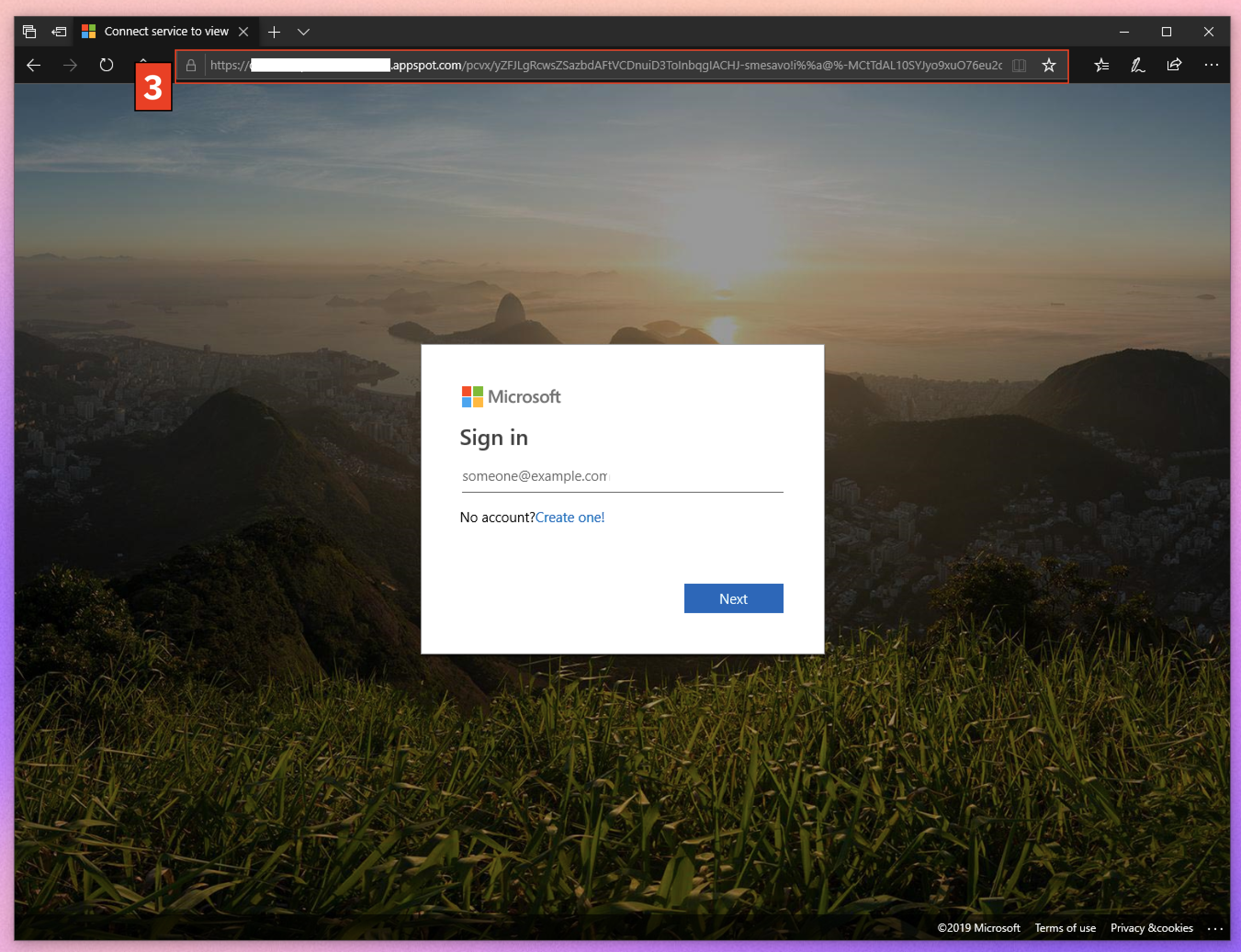 a fake microsoft login page with a .appSpot.com url with a long string of characters in it