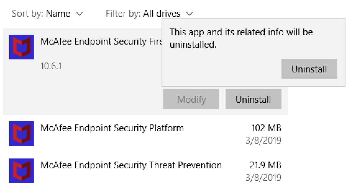 Remove McAfee Endpoint Security on Windows 10 - self-managed