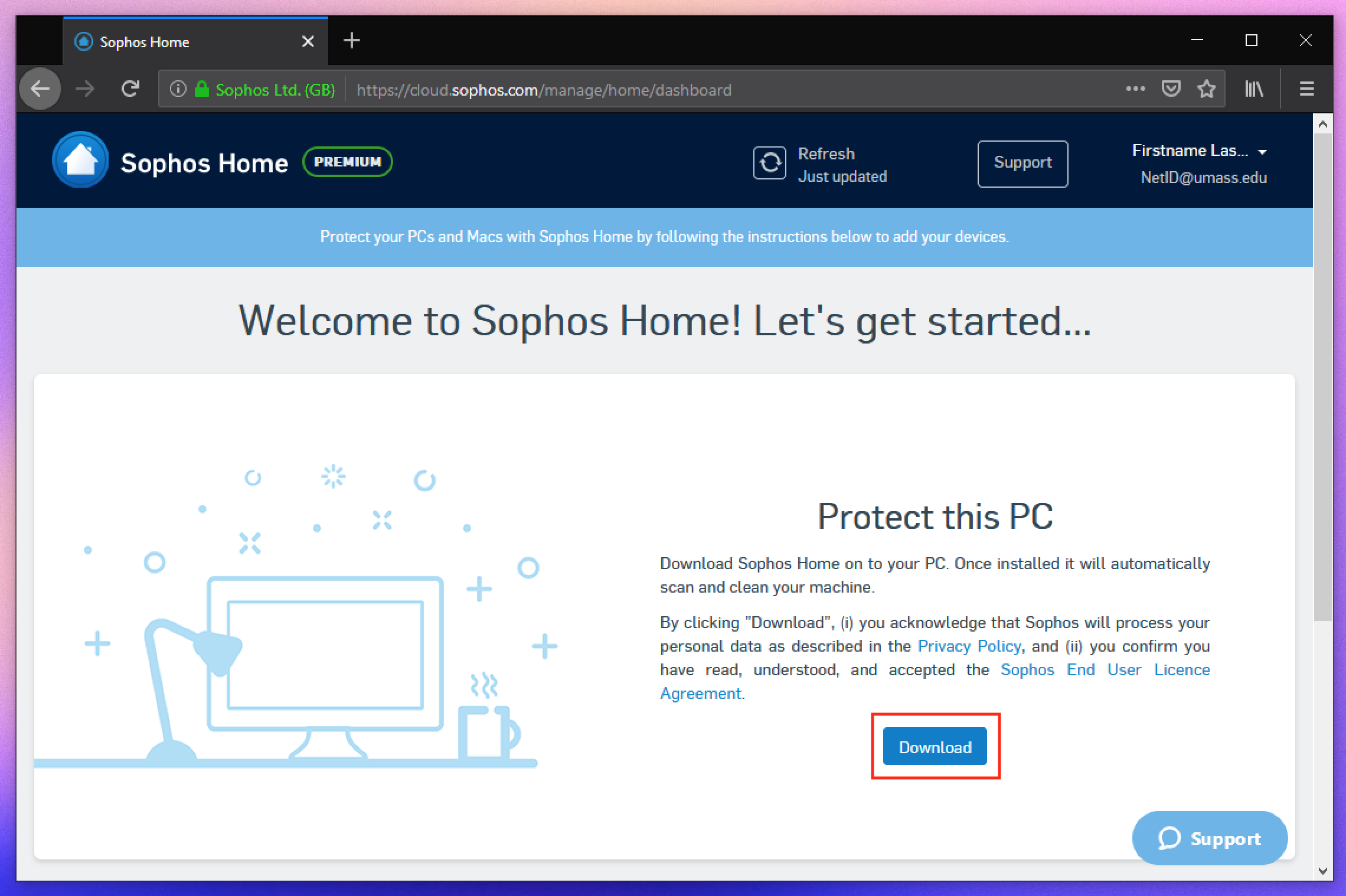 Sophos home dashboard with PC download button