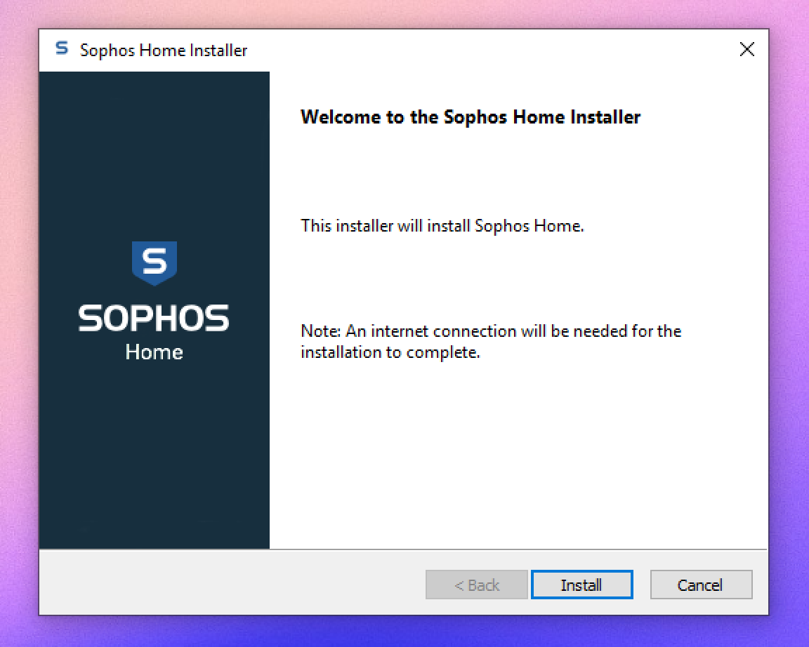 Sophos windows installer with install button