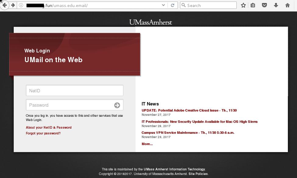 Security Alert! New Phishing Scam Targets UMass Amherst Community