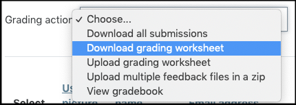 Screenshot for downloading grading worksheet.