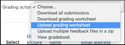 Screenshot for uploading grading worksheet.
