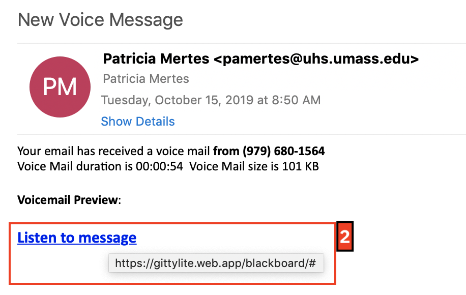 phishing message example 10 15 2019; message from 'Pam Mertes' including a link to 'listen to a voicemail'