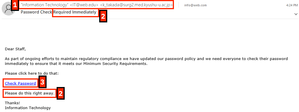 phishing message example 10 15 2019; message from 'information technology' - actually it@web.edu
