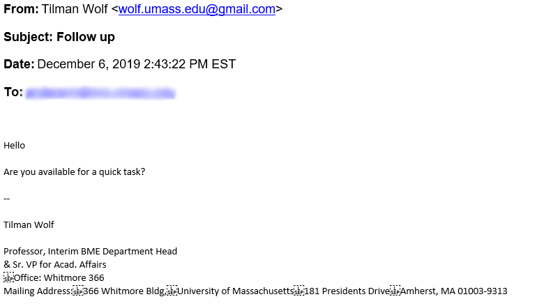 A screenshot of the phishing email.