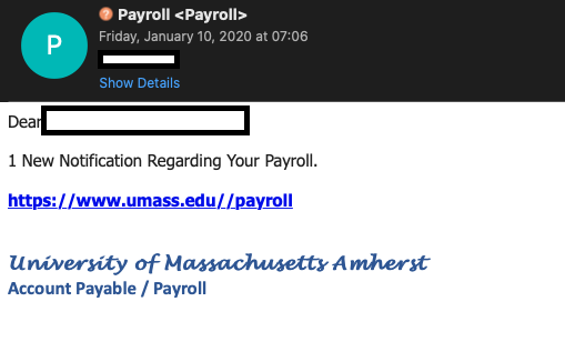 A screenshot of the phishing message.