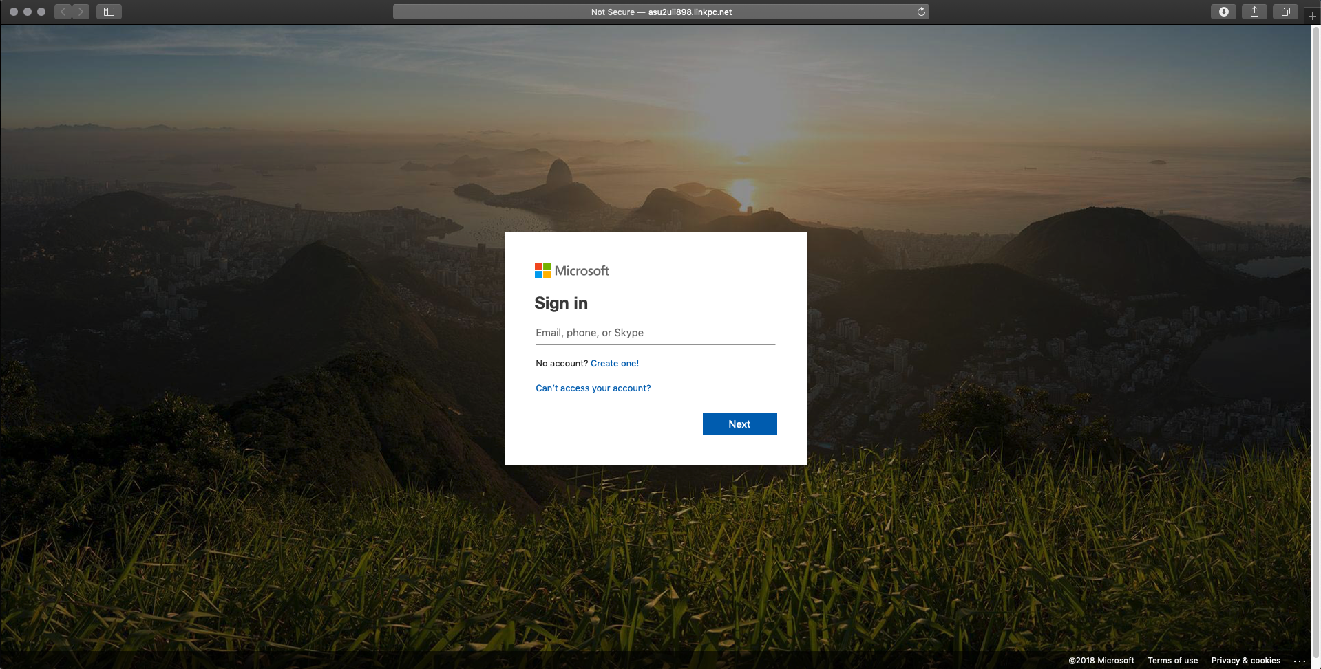 Fraudulent login page pretending to be Office 365