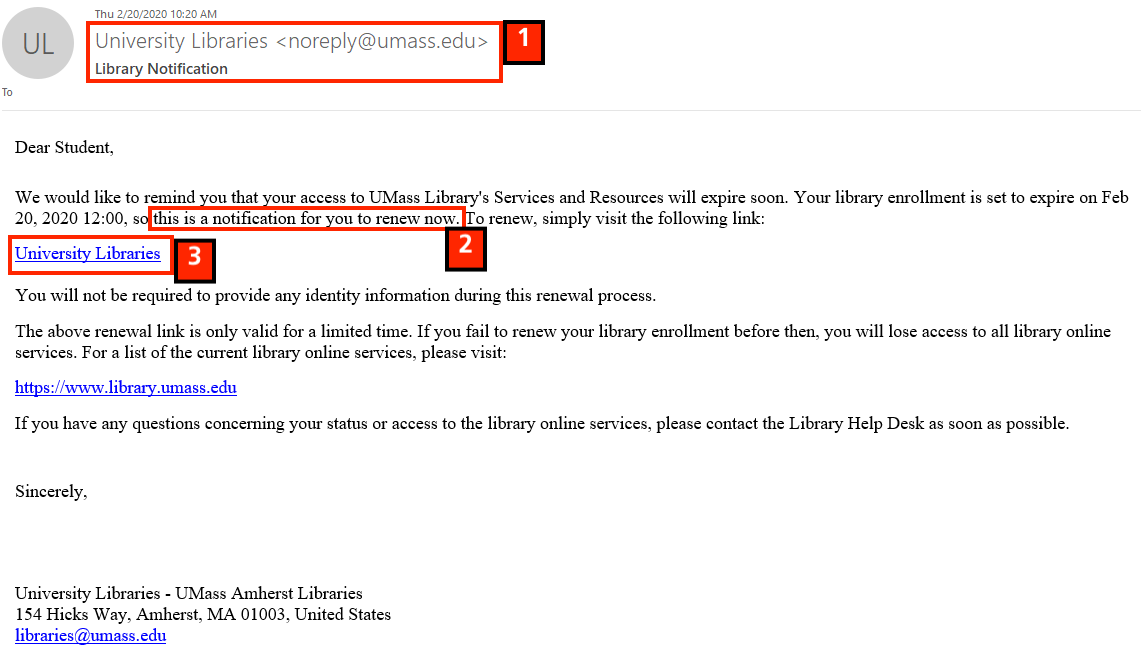 phishing message example 2 20 2020; message from 'University Libraries'