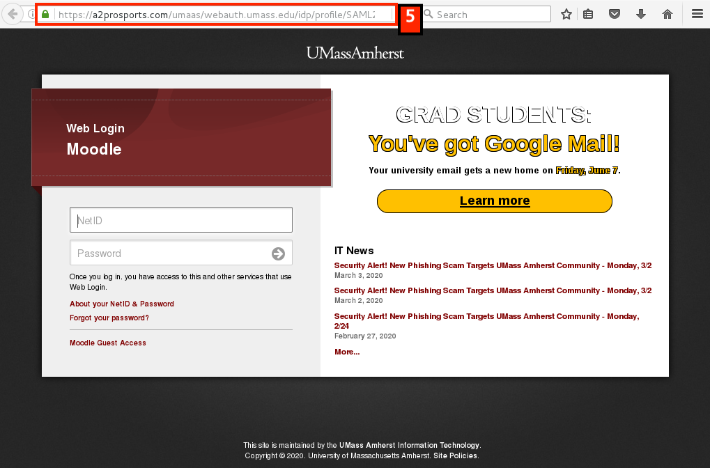Fake UMass Libraries landing page with an address starting in 'A2prosports.com'