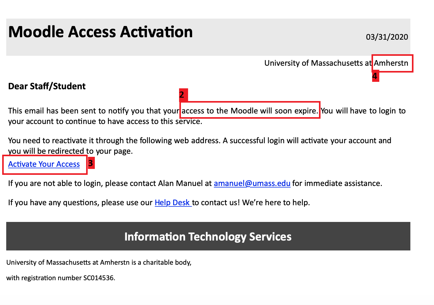 phishing message example 3 31 2020; message from 'University Libraries'