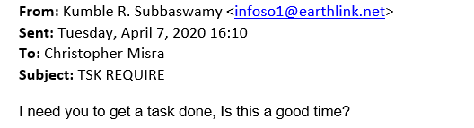 a message claiming to be sent by kumble subbaswamy