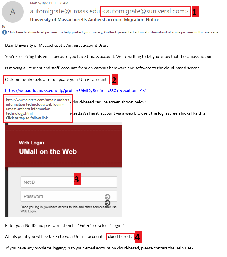 phishing message example 5 18 2020; message claiming to come from automigrate at umass.edu
