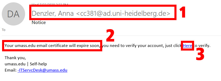 phishing message example 7 22 2020; message coming from a uni-heidelberg.de address