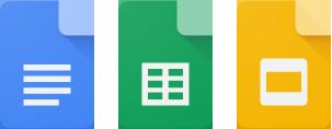 google docs, sheets, and slides icons
