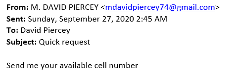 Message that appears to be sent by David Piercey, with the subject line Quick request