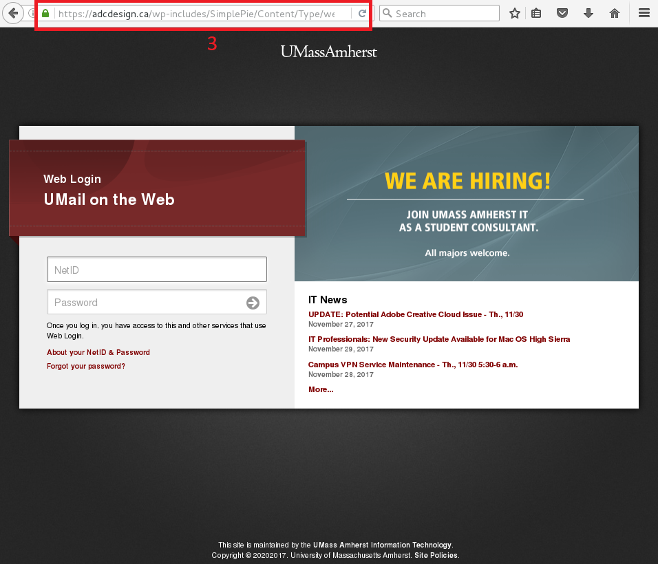A fake umass amherst login page with an abcdesign.ca address