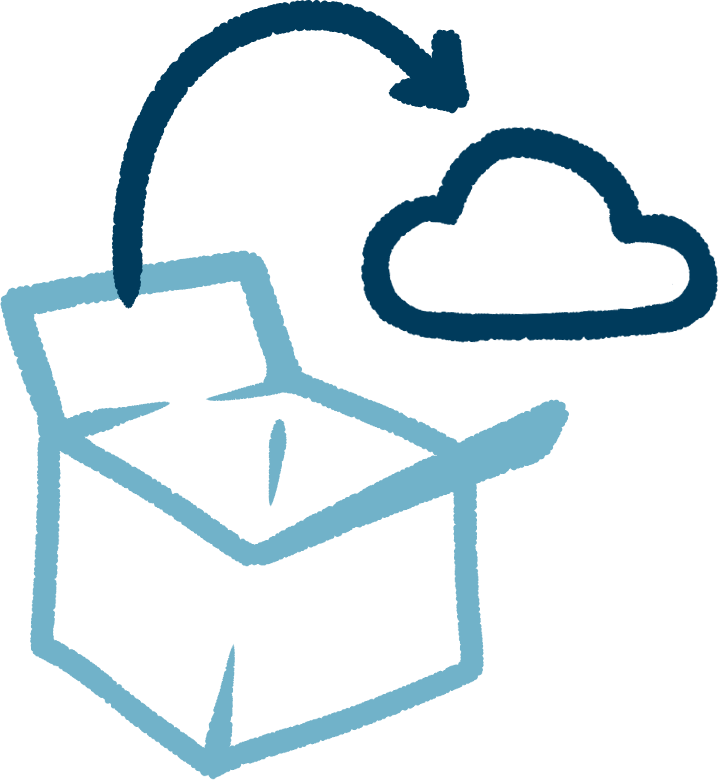 doodle of a box, with an arrow going to a cloud
