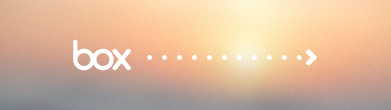 box logo with a dotted arrow to the right on a blurred sunrise background