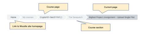 Breadcrumb bar annotated screenshot indicating that it can be used to navigate to the Course page, the section, and Current location