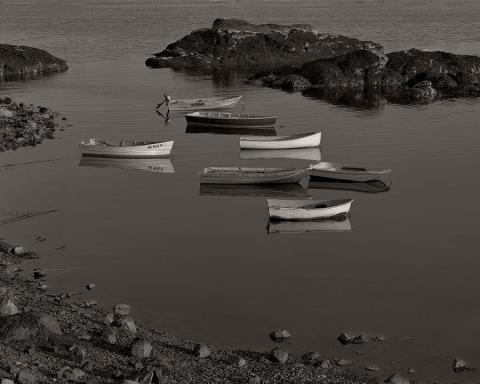 Black and white photograph of boats
