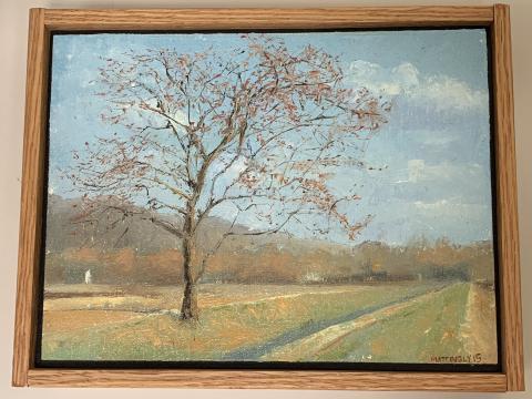 Painting of tree near road