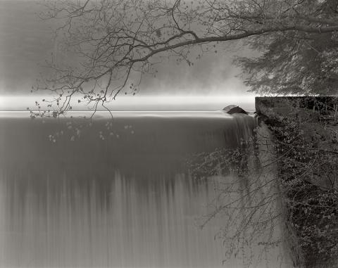 black and white photograph waterfall background, tree foreground