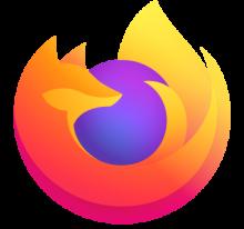 new firefox logo - a stylied fire orange fox wrapped around a simple blue purple globe