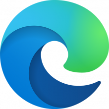 Edge logo - a highly stylized e shaped like a bluegreen ocean wave