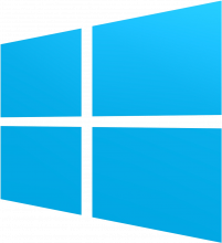 Windows logo - a simple stylized window shown at an angle in bright cyan