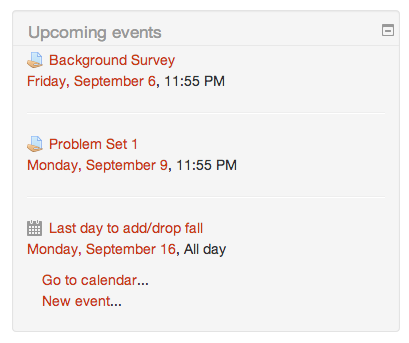 The Upcoming Events and Calendar Blocks in Moodle | UMass Amherst