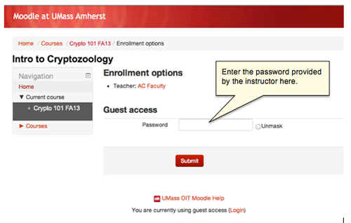Log In As A Guest To A Moodle Course Umass Amherst Information
