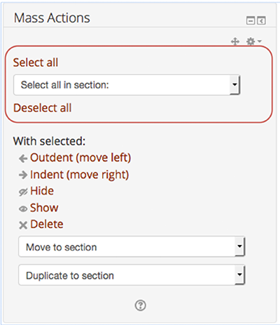 Select/Deselect all items or all the items in a section using the drop-down.