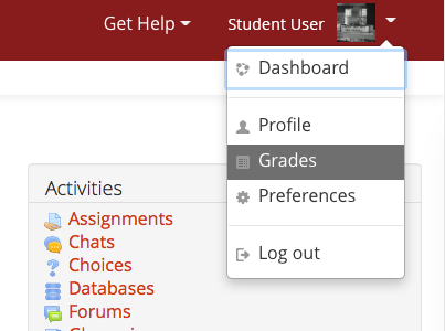 Find grades in the User menu