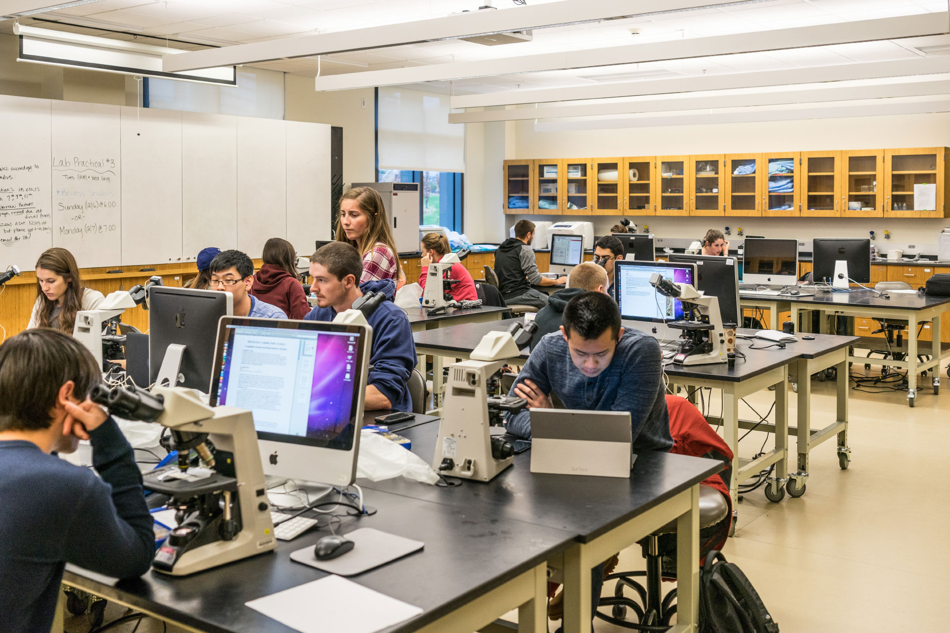 Students working in a lab with computers