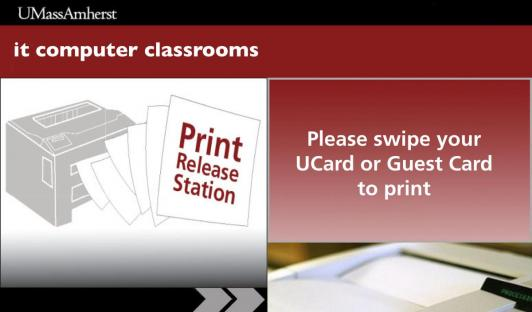 An image of the graphic on the Print Release Station instructing users to swipe their UCard or Guest Card to print