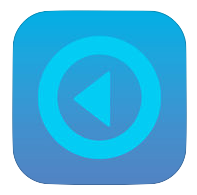 Echo360 App Icon, blue square with a circle and left pointing arrow in the center