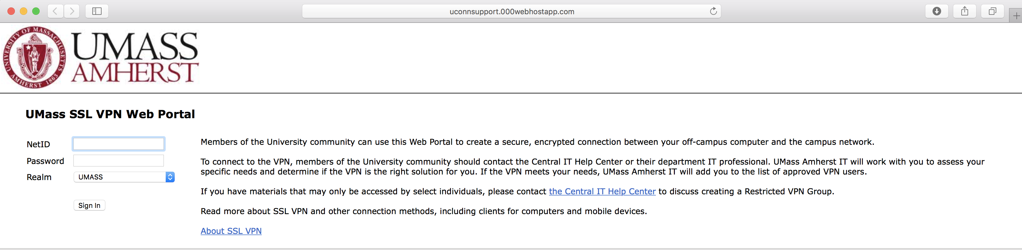 Screenshot of fake UMass SSL login screen. The web address is shown and is not a trusted UMass address.