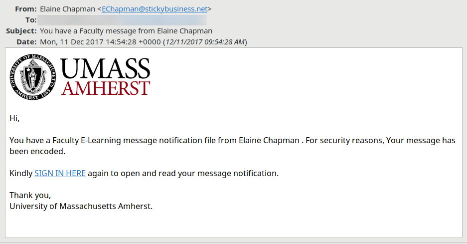 A phishing message instructing the recipient to click a link which does not show its address.