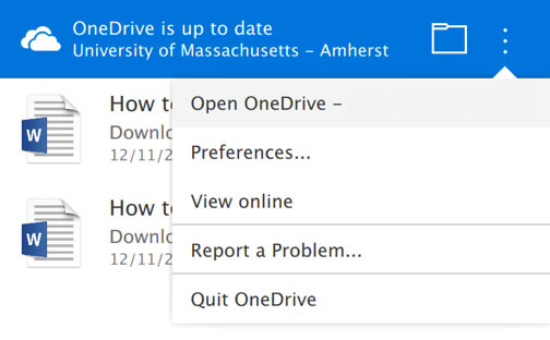 OneDrive UI showing where the three dot button and the preferences item are (in the upper right)