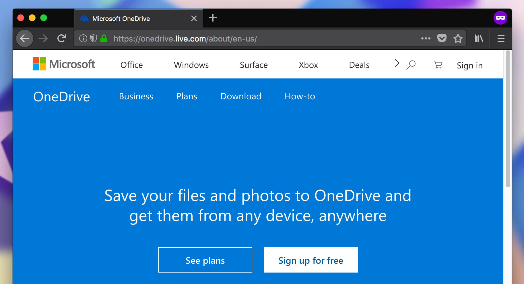 OneDrive dot live dot com landing page showing the sign in button in the upper right