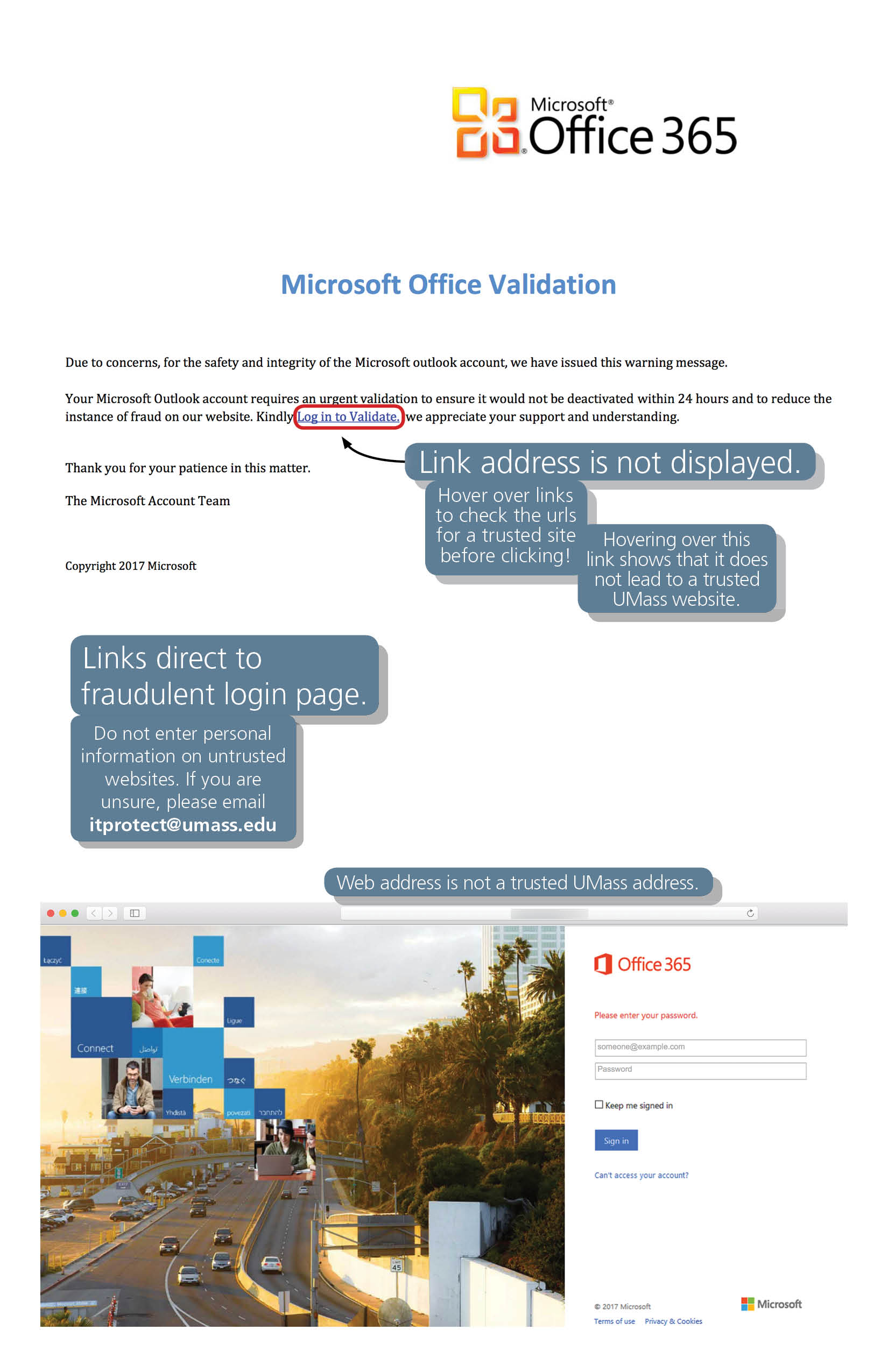 Phishing example showing an email attachment with a link. The message instructs the recipient to click a link which does not show its address. The link directs to a fake version of the Office 365 login page.