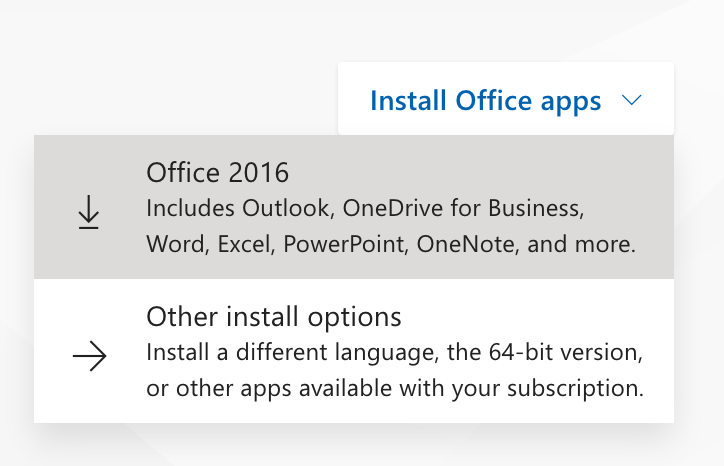 What the Install Office button looks like at portal.office.com