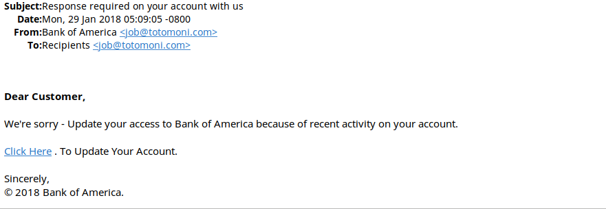 phishing email message 2, pretending to be from BOFA
