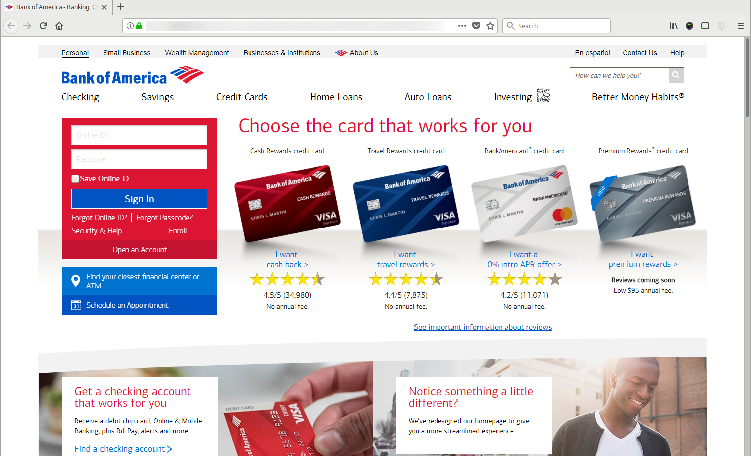 fraudulent bank of america login page linked to in the second phishing message. The web address is blurred out here, but it was not a trustworthy web address - a big long string of letters and numbers.