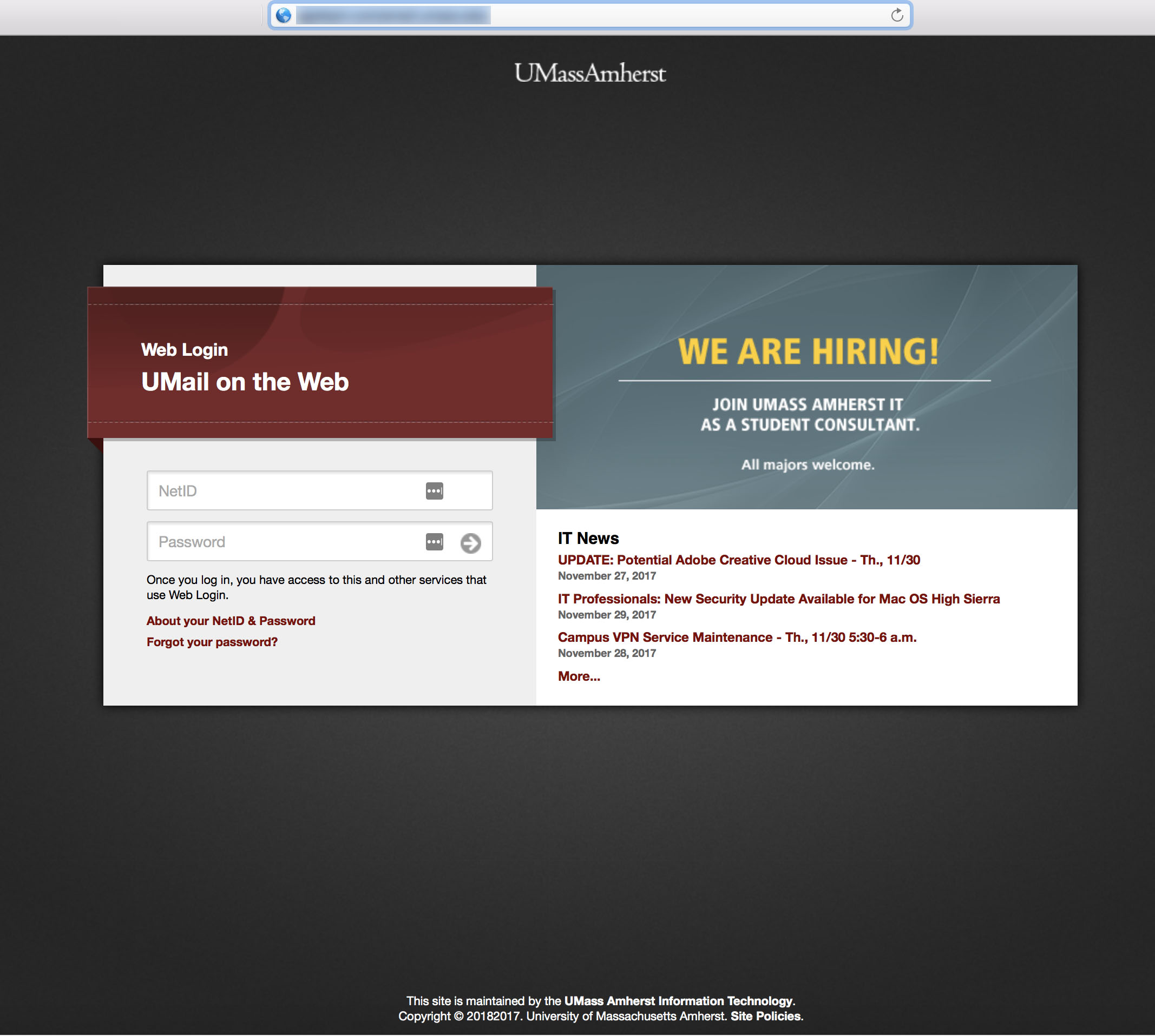 fake umail login page - the URL is blurred out, but the address was not a trusted umass web address.
