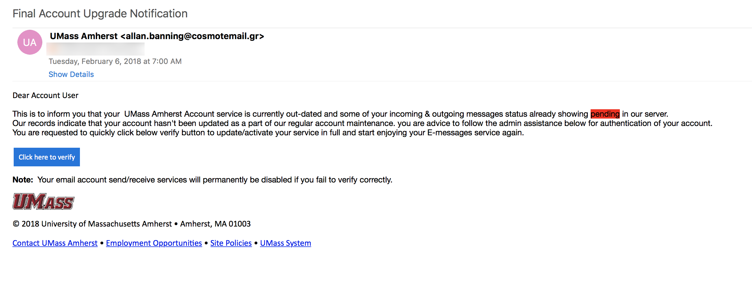 Phishing email sent by 'allan banning'