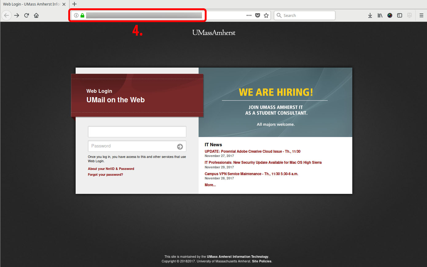 Fake login page example feb 23 with non-umass web address