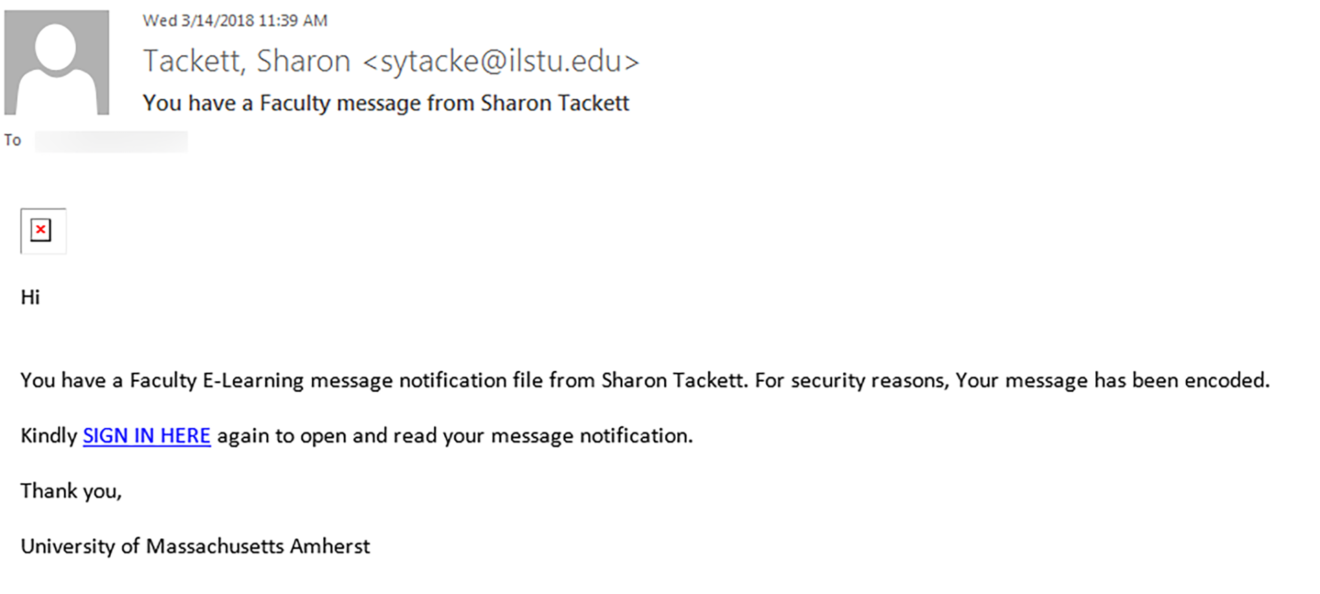 Phishing example that appears to have been sent by 'Sharon Tackett'