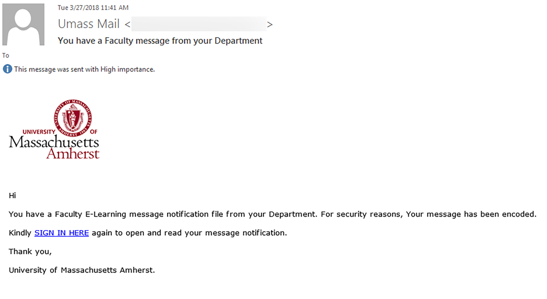 Phishing example that appears to have been sent by 'UMASS MAIL'